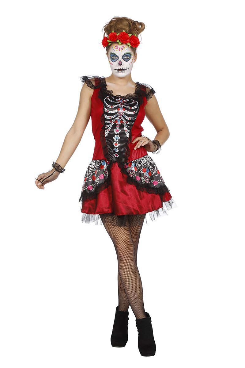 Carnavalskleding Dames Clown.Day Of The Dead Jurk Voor Dame Jurken Carnavalskleding Dames